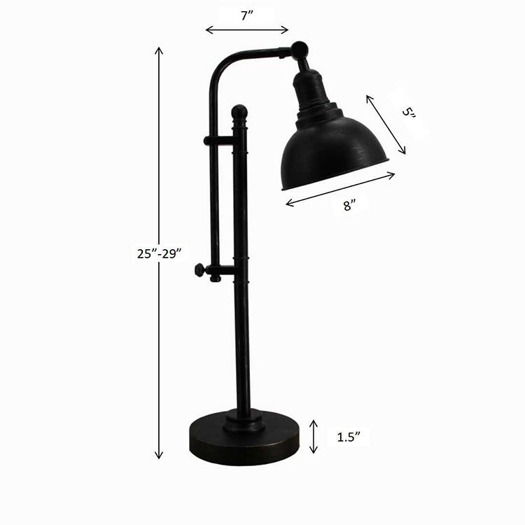 black metal table lamp-dimension