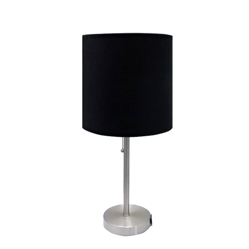 Black Metal Table Lamp With Outlet Goodly Light Gl Tlm003