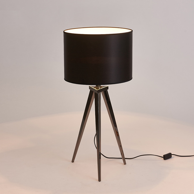 Modern Black Wood and Silver Chrome Tripod Floor Lamp with a Cream Cylinder Light Shade