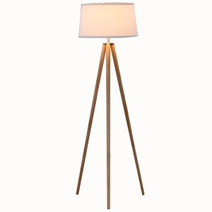 High Quality Gel Polish Professiona - Natural Wood Tripod Floor Lamp, Linen Fabric Lamp Shade with E26 Lamp Base, Modern Design Reading Light for Office,Bedroom,Living Room, and Study Room-GL-FLW0...