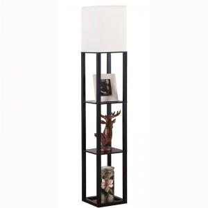 Police stojací lampa, elegantní dřevěná stojací lampa se 3 úložnými policemi |  Dobře světlo-GL-FLWS003