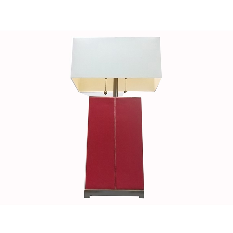 Leather Table Lamp Small Red