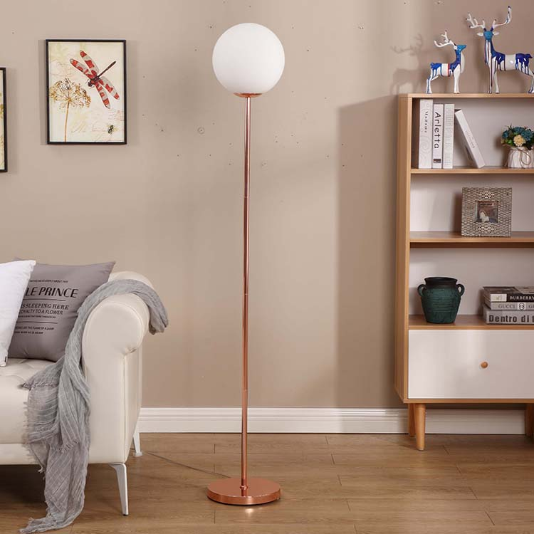 modern glass milky shade rose gold floor lamp 1