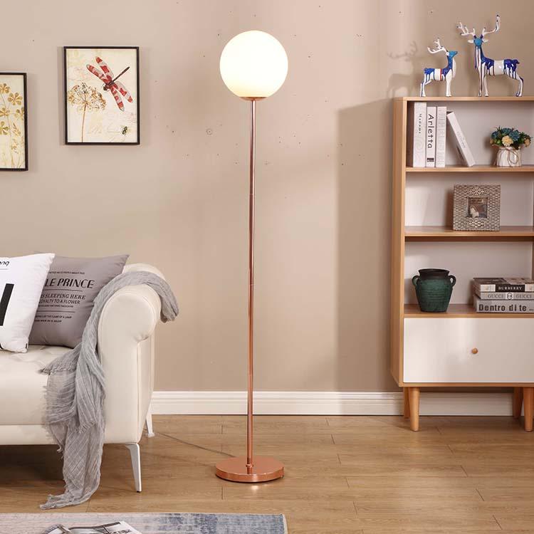 modern glass milky shade rose gold floor lamp 2