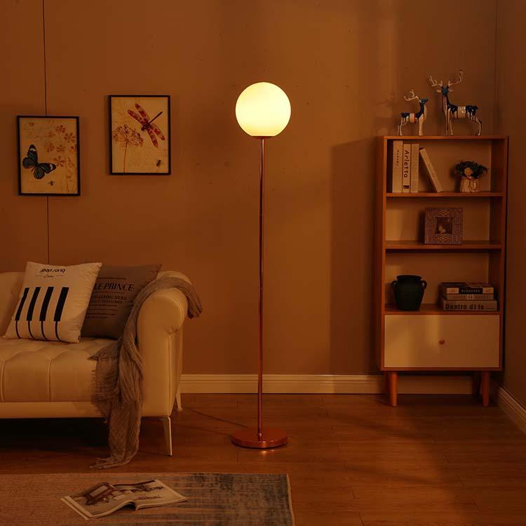 modern glass milky shade rose gold floor lamp 3