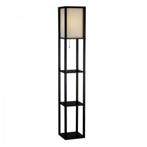 white shelf floor lamp,wooden floor lamp with shelf | Goodly Light-GL-FLWS001