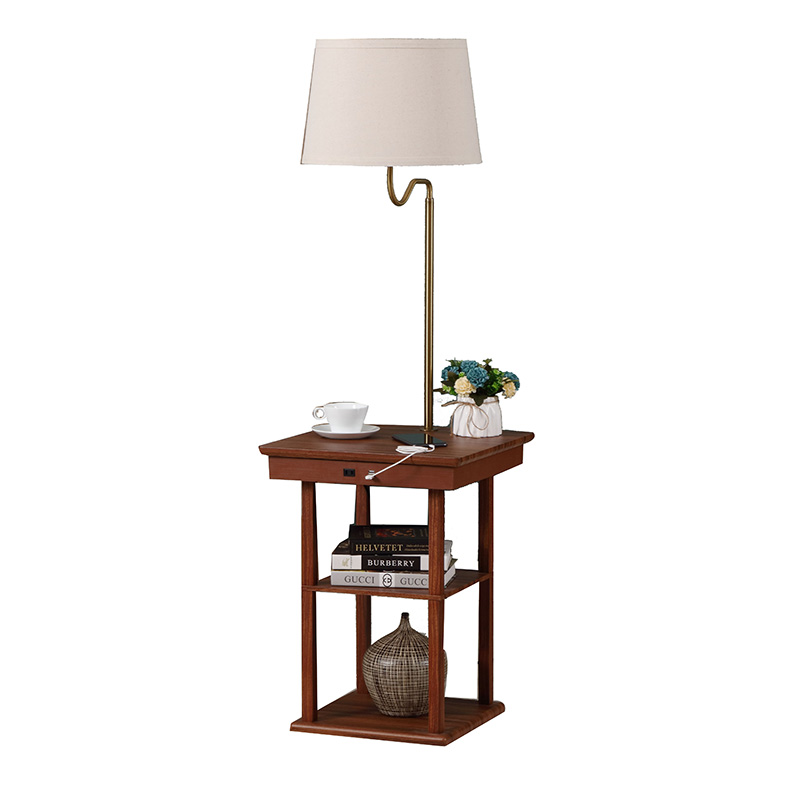 table lamp with outlet and usb | end table with lamp and usb | Goodly Light-GL-FLWS09-USB Featured Image