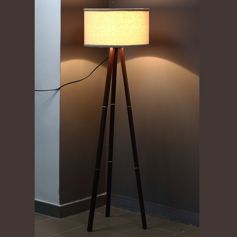 Wooden Floor Lamp Tripod Contemporary
