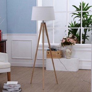 Natural Wood Tripod Floor Lamp, white wooden tripod floor lamp | Goodly Light-GL-FLW002