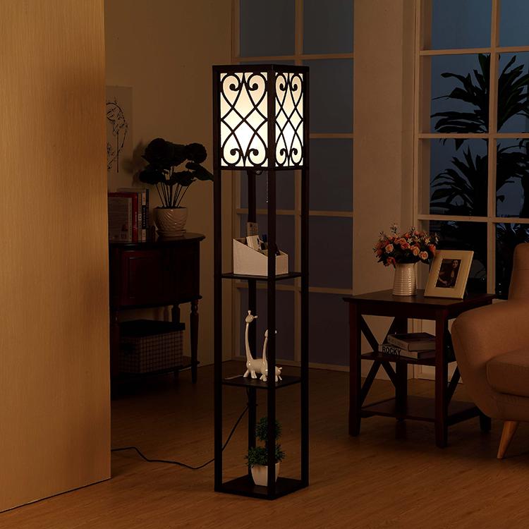 wooden shelf floor lamp-Black