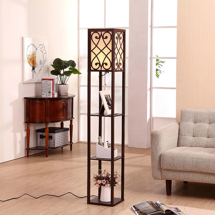 wooden shelf floor lamp-Coffee