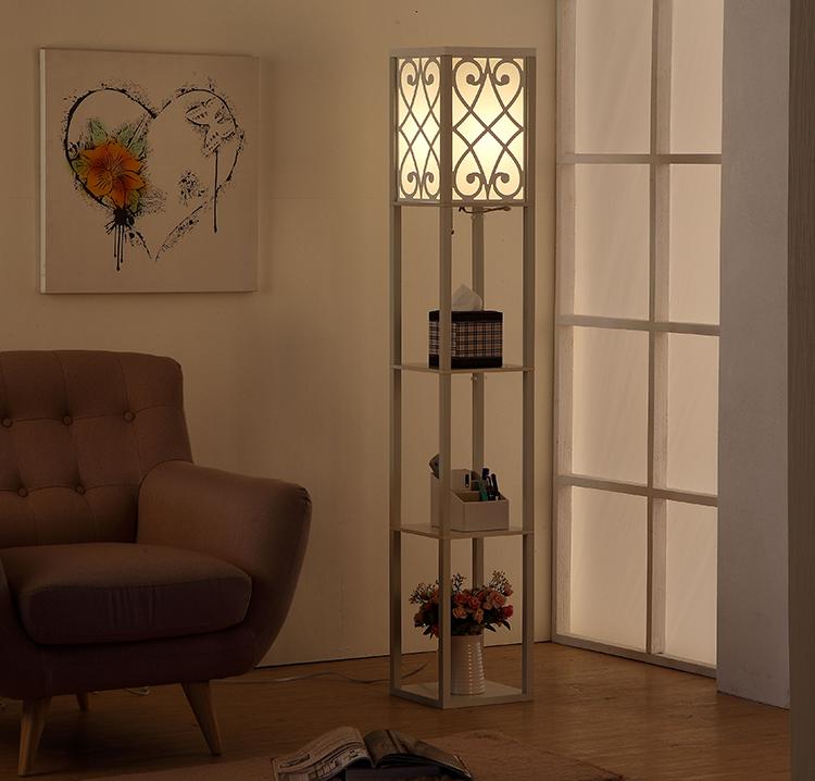 wooden shelf floor lamp-White