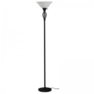 Goodly Classicl Black 71 Inch Torchiere Floor Lamp with Milky Glass shade for Living Room Corner Bedroom Office GL-FLM050
